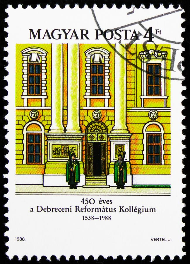 Calvinist College, Debrecen, Serie di costruzioni, 1988 circa immagine stock