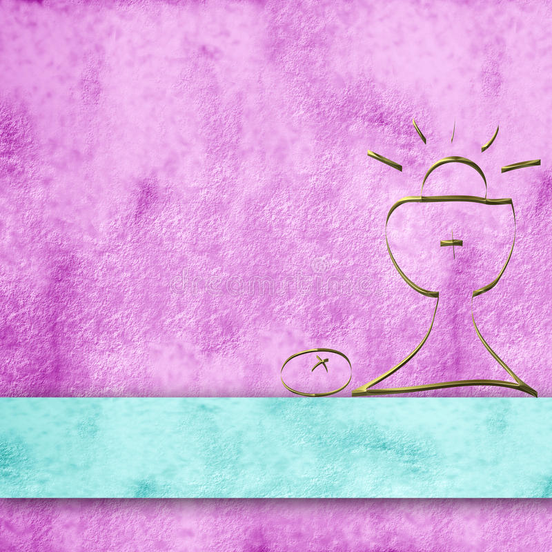 Calyx background for first communion girl. Pink parchment background and simple first communion chalice stock illustration