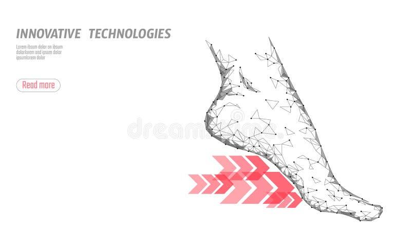 Calza la flessibilità di forma fisica di scienza della tecnologia Sole frecce veloci di funzionamento della donna del piede umano illustrazione di stock
