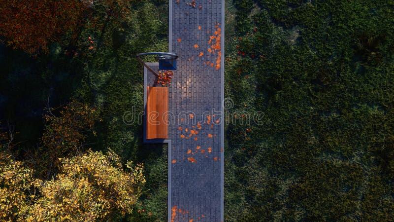 Calzada con el banco vacío en la opinión superior del parque del otoño stock de ilustración