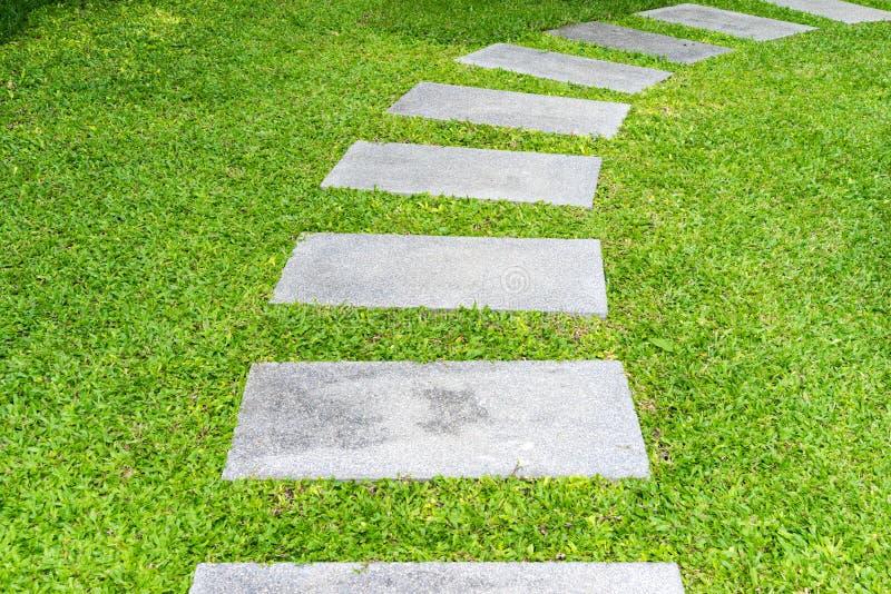 Calzada de la roca del jardín entre las hierbas fotografía de archivo