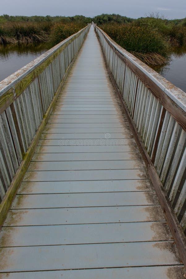 Calzada del puente por el océano sobre un lago imagen de archivo libre de regalías