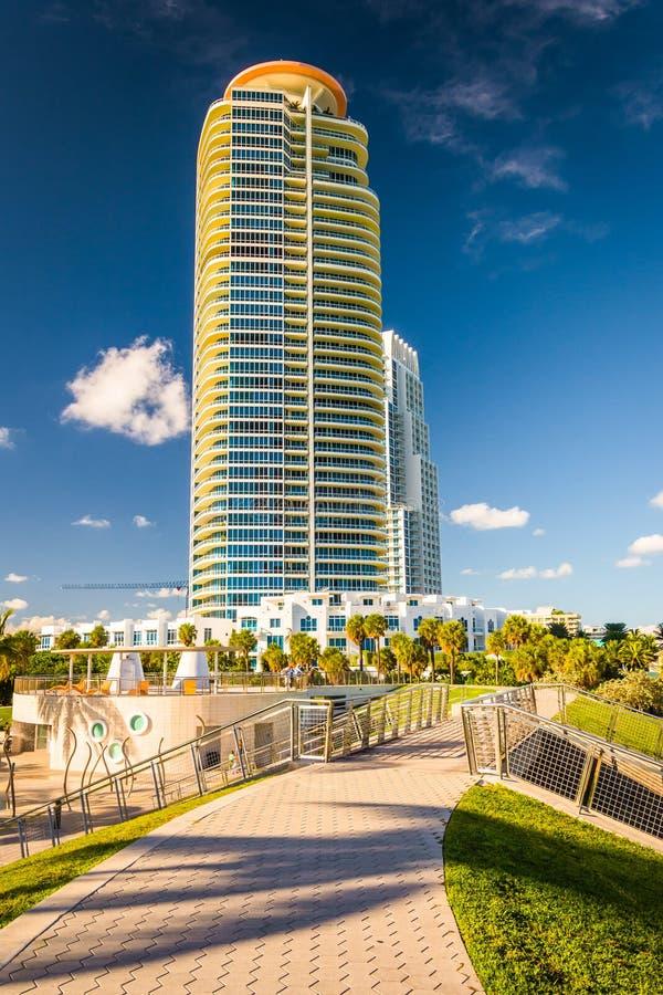 Calzada en el parque y el rascacielos del sur de Pointe en Miami Beach, Flor foto de archivo libre de regalías