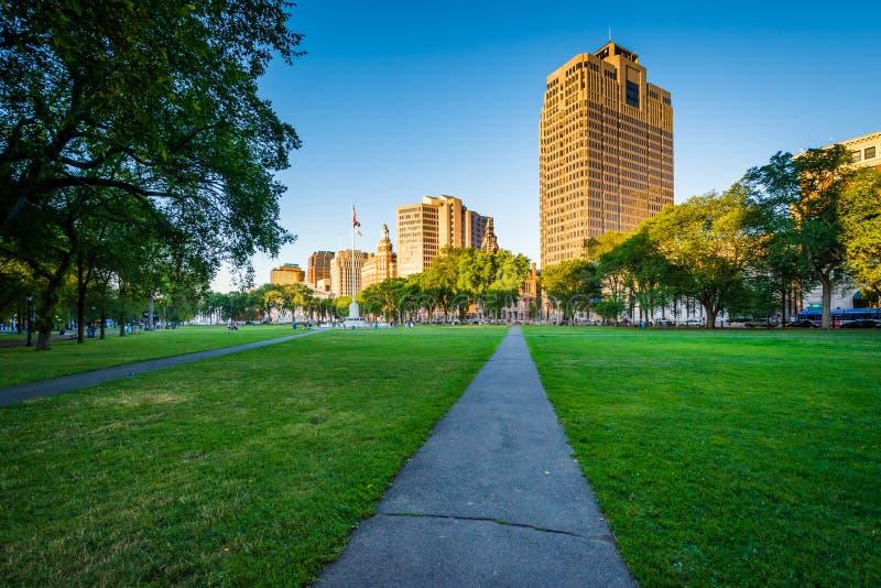 Calzada en el verde de New Haven y edificios en nuevo Hav céntrico imagenes de archivo