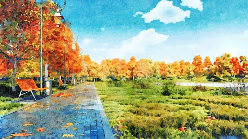 Calzada vacía en paisaje de la acuarela del parque del otoño libre illustration