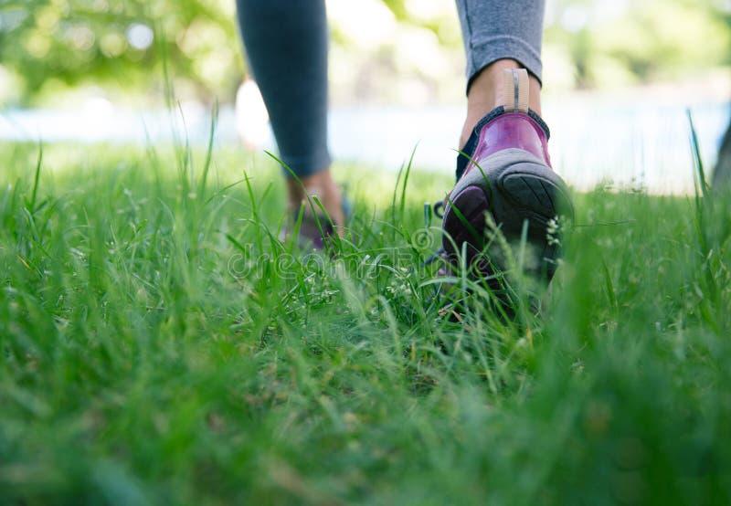Calzado en los pies femeninos que corren en hierba verde fotos de archivo
