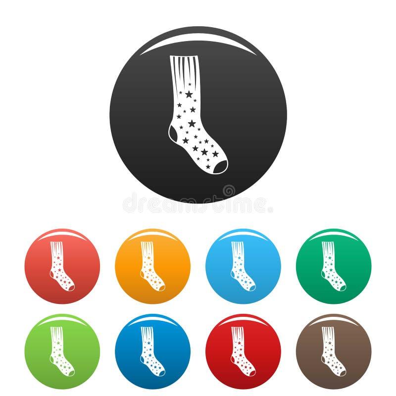 Calzino con colore fissato icone della stella illustrazione vettoriale