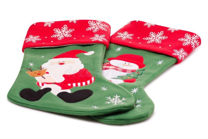 Calzino del regalo della decorazione di Natale isolato immagine stock libera da diritti