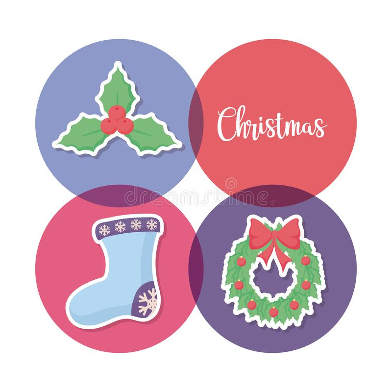 Calzino di Natale con le icone stabilite illustrazione vettoriale