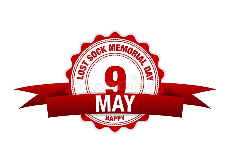 Calzino perso Memorial Day 9 maggio calendario del nastro Rosso di vettore illustrazione di stock