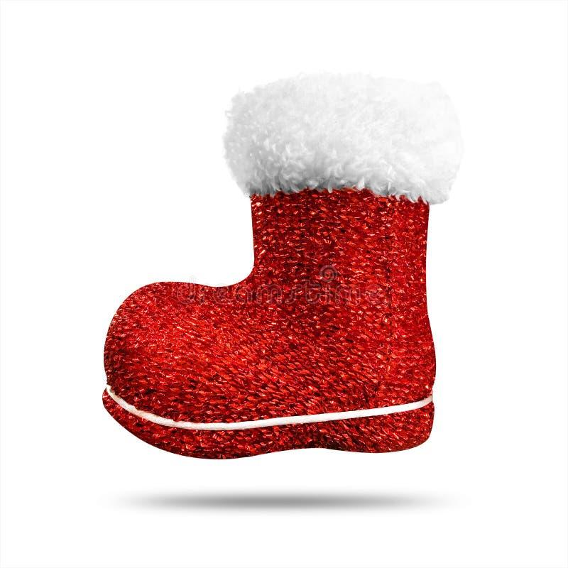 Calzino rosso di natale con struttura brillante isolato su fondo bianco Calza o scarpe di Natale fotografie stock