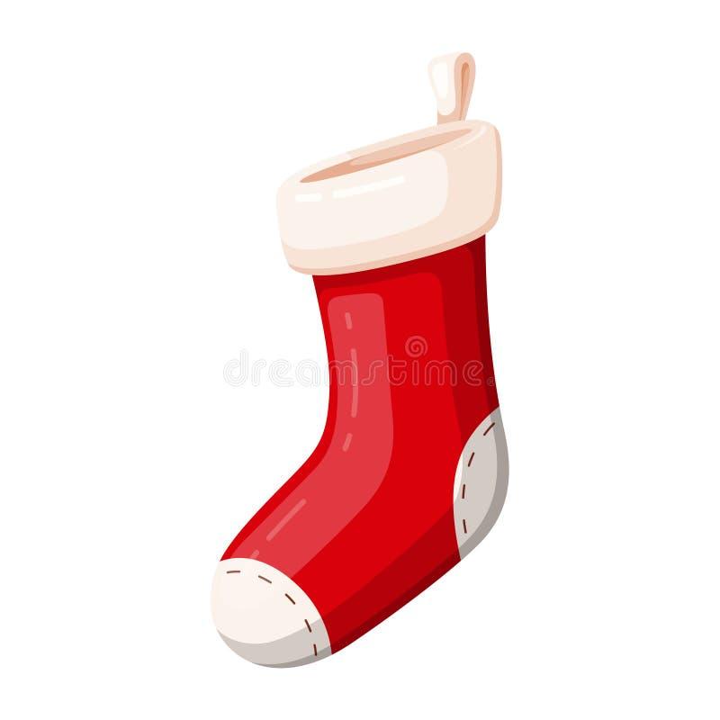 Calzino rosso di Natale del regalo, simbolo tradizionale della decorazione illustrazione di stock