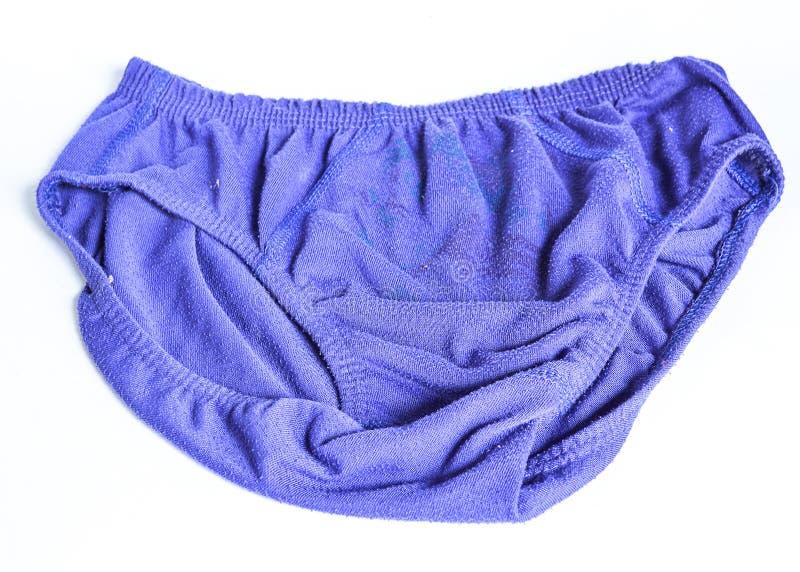 Calzoncillos masculinos o color azul del bikini del underware aislado en el fondo blanco imagen de archivo