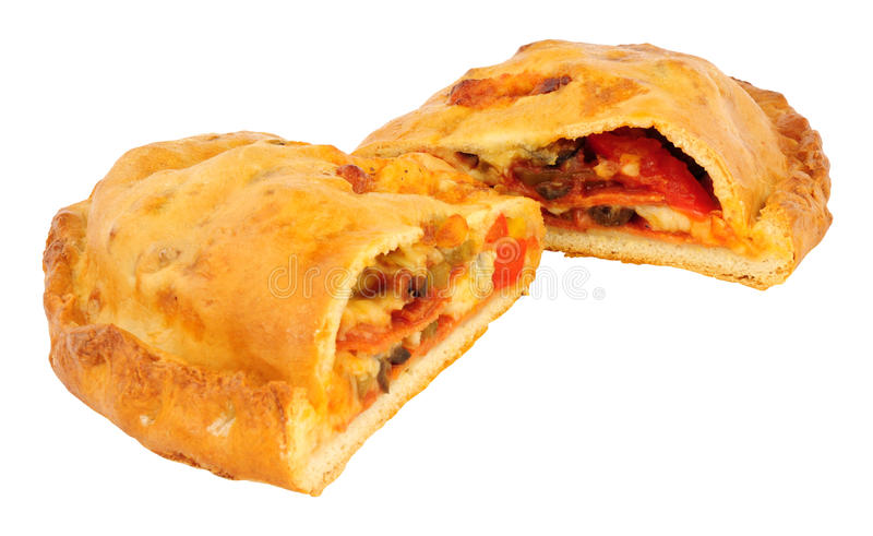 Calzone Pizza Isolated On white. Pepperoni and cheese filled calzone pizza isolated on a white background stock image