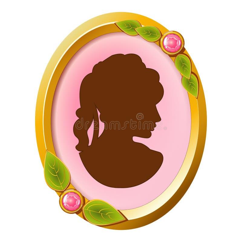 Camée accessoire de vintage avec la silhouette femelle illustration de vecteur