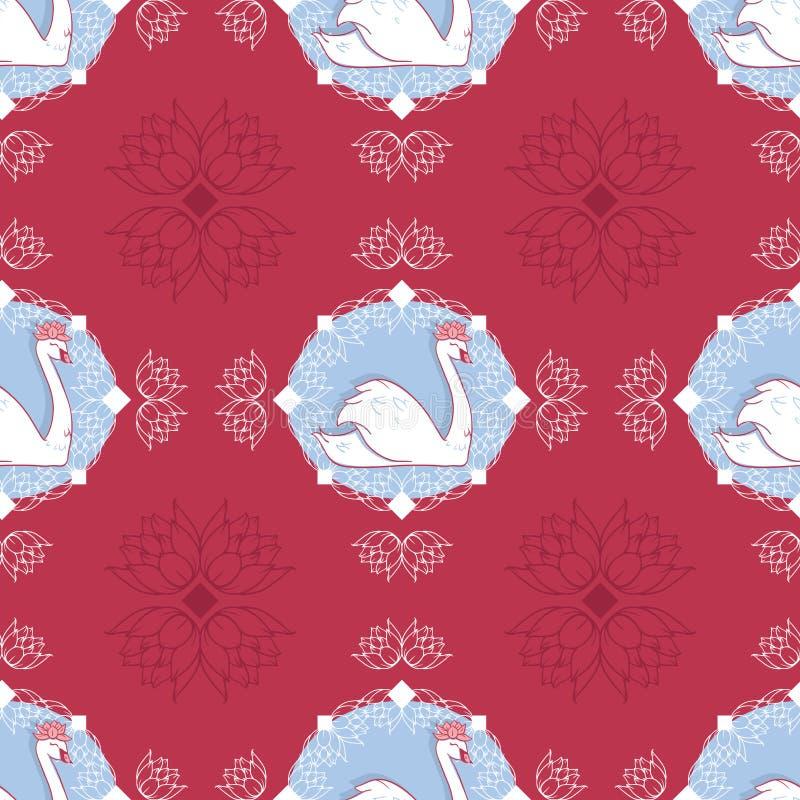 Camée de cygne de vecteur en rouge avec le fond sans couture de modèle de nénuphars illustration stock