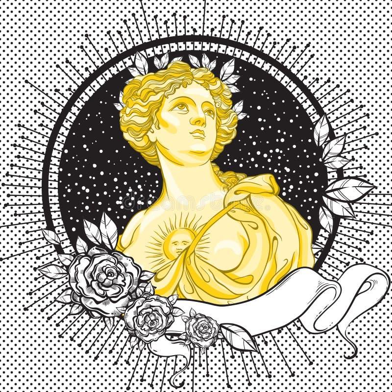 Camée romane foncée de victorian Belle dame grecque sur le cadre de noir de vintage décoré des feuilles et des roses illustration libre de droits