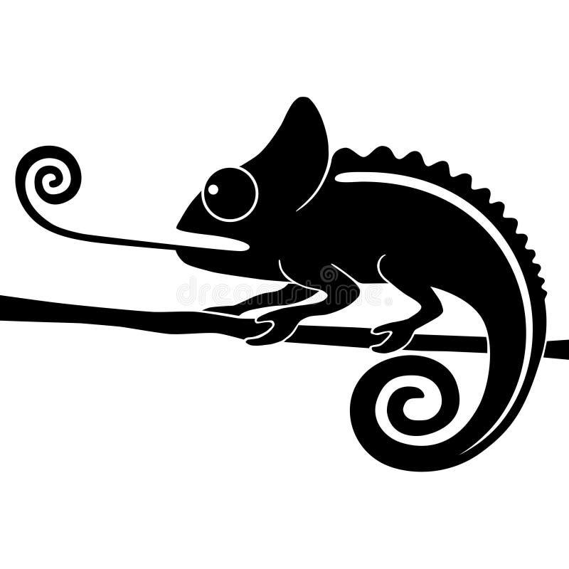 Caméléon avec la languette longue illustration libre de droits