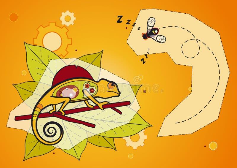 Caméléon et mouche - vecteur illustration stock