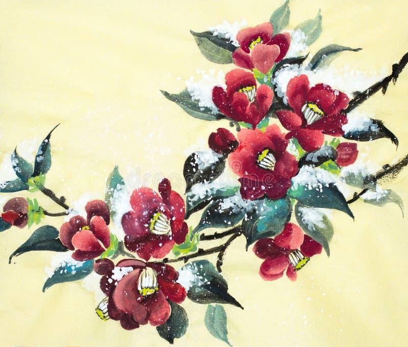 Camélia brilhante sob a neve ilustração stock