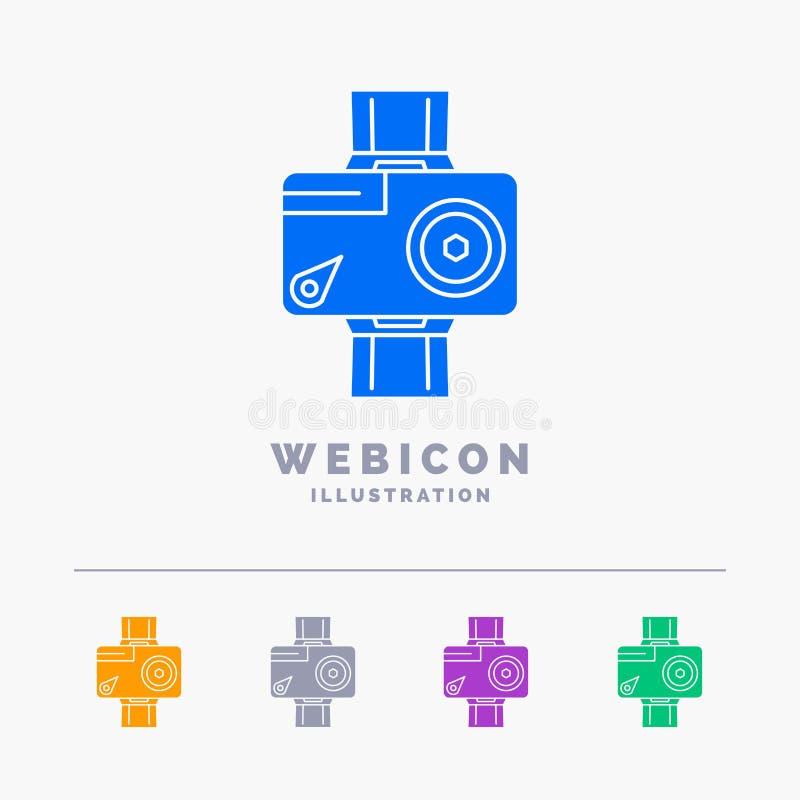 caméra, action, numérique, visuelle, calibre d'icône de Web de Glyph de couleur de la photo 5 d'isolement sur le blanc Illustrati illustration libre de droits