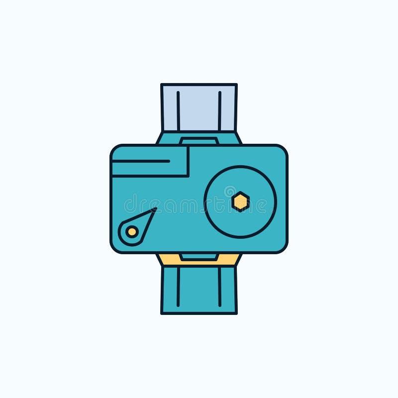 caméra, action, numérique, visuelle, icône plate de photo signe et symboles verts et jaunes pour le site Web et l'appliation mobi illustration stock