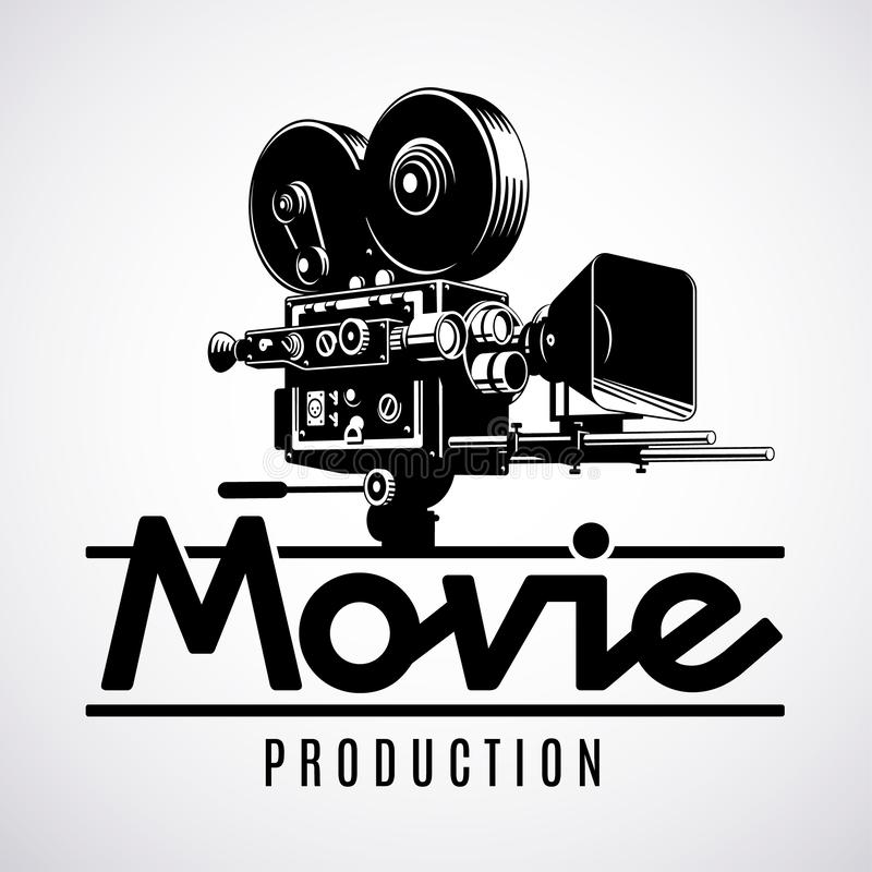 Caméra démodée de pellicule cinématographique, calibre de conception de logo, illustration noire et blanche de vecteur illustration de vecteur