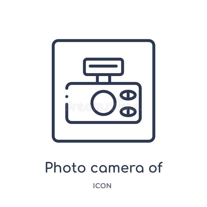 caméra de photo d'icône carrée arrondie de forme de collection d'ensemble d'outils et d'ustensiles Ligne mince caméra de photo de illustration stock