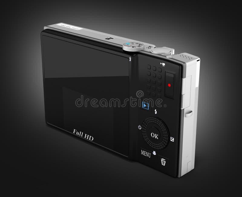 Caméra de photo de Digital sur le fond noir 3d de gradient rendre illustration stock