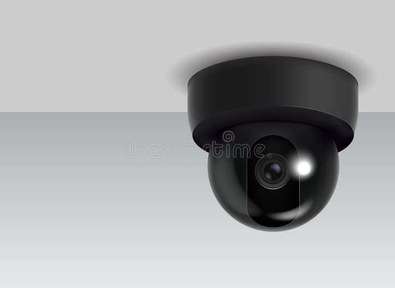 Caméra de sécurité détaillée réaliste de télévision en circuit fermé du plafond 3d Vecteur illustration libre de droits