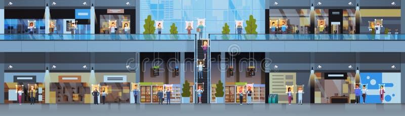 Caméra de sécurité intérieure moderne de centre commercial de concept facial de reconnaissance d'identification de visiteurs  illustration de vecteur