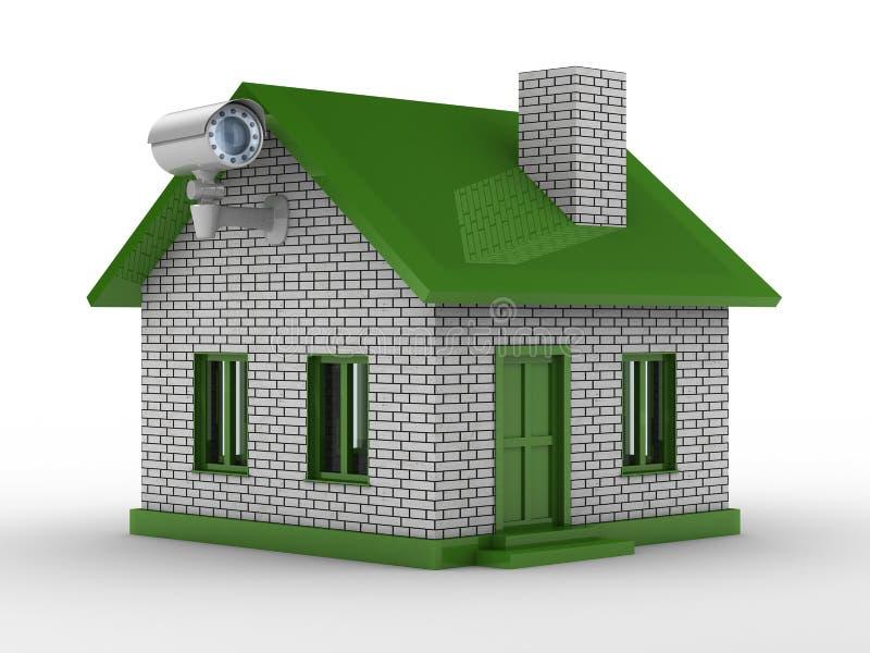 Caméra de sécurité sur la maison illustration de vecteur