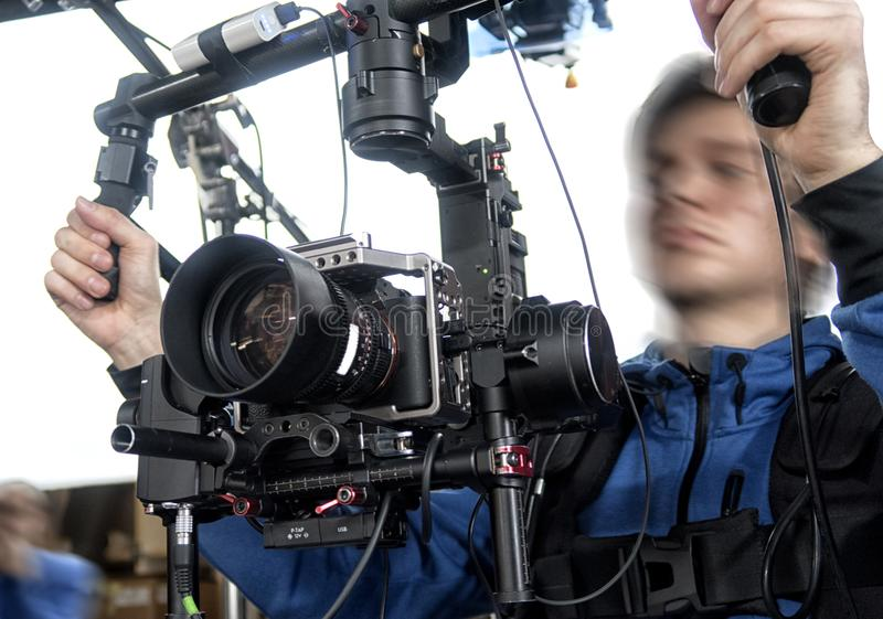 Caméra de télévision dans le studio photographie stock libre de droits