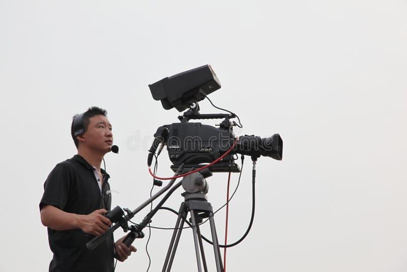 Caméra de télévision de studio images libres de droits