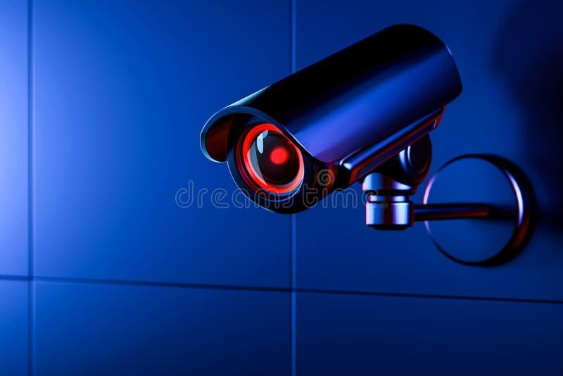 Cam?ra de t?l?vision en circuit ferm? sur le mur bleu pendant la nuit Copiez l'espace inclus Technologie utilis?e pour le concept illustration stock