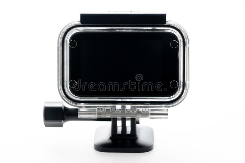 Caméra extrême d'action à l'aqua-boîte imperméable d'isolement sur un fond blanc Caméra pour des films de la longueur 4k, des spo photo libre de droits