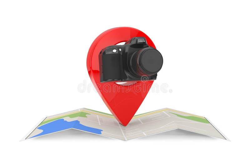 Caméra moderne de photo de Digital de résumé au-dessus de carte abstraite pliée de navigation avec la cible Pin Pointer rendu 3d illustration de vecteur