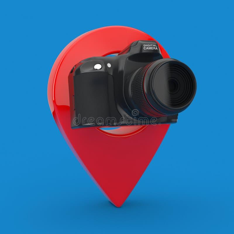 Caméra moderne de photo de Digital de résumé avec la cible Pin Pointer rendu 3d illustration de vecteur