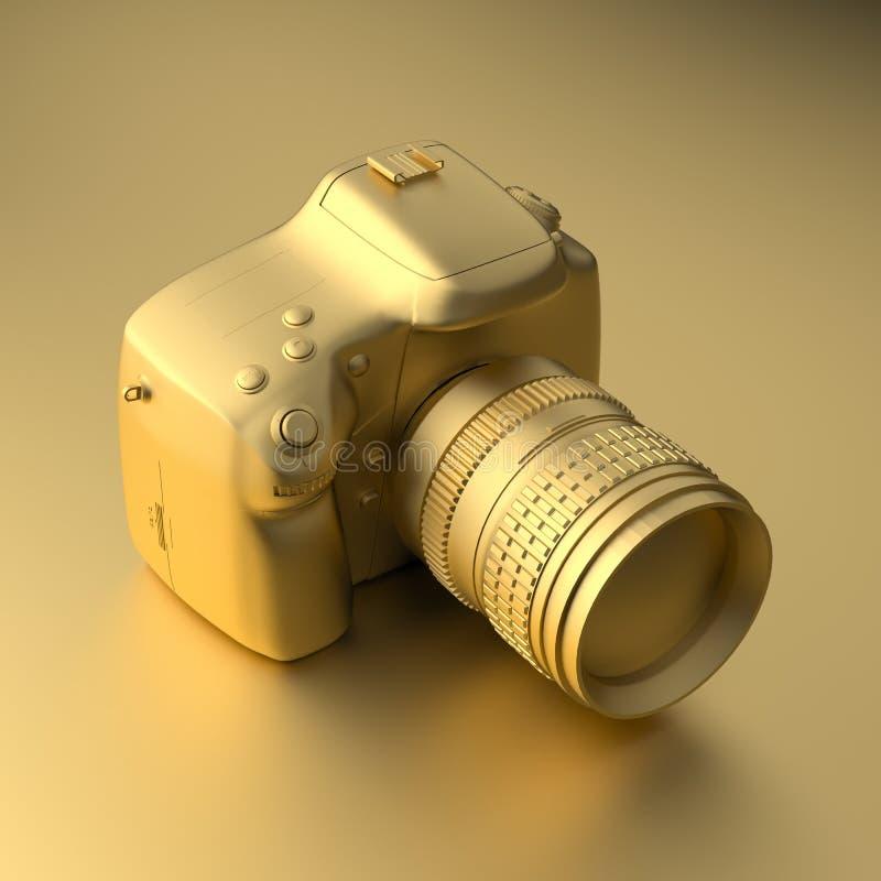 Caméra professionnelle d'or frais sur le fond d'or Illustration dans le style minimal rendu 3d illustration stock