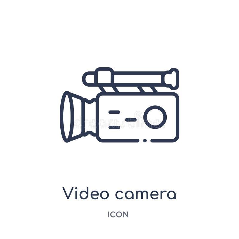 caméra vidéo d'icône de vue de côté d'icône de vue de côté de collection d'ensemble d'interface utilisateurs Ligne mince caméra v illustration stock