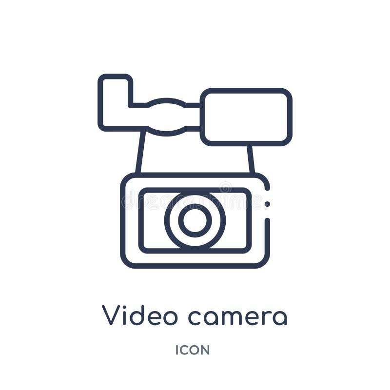 caméra vidéo d'icône frontale de vue d'icône frontale de vue de collection d'ensemble d'outils et d'ustensiles Ligne mince caméra illustration de vecteur