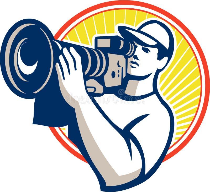 Caméra vidéo de Film Crew HD de cameraman illustration de vecteur