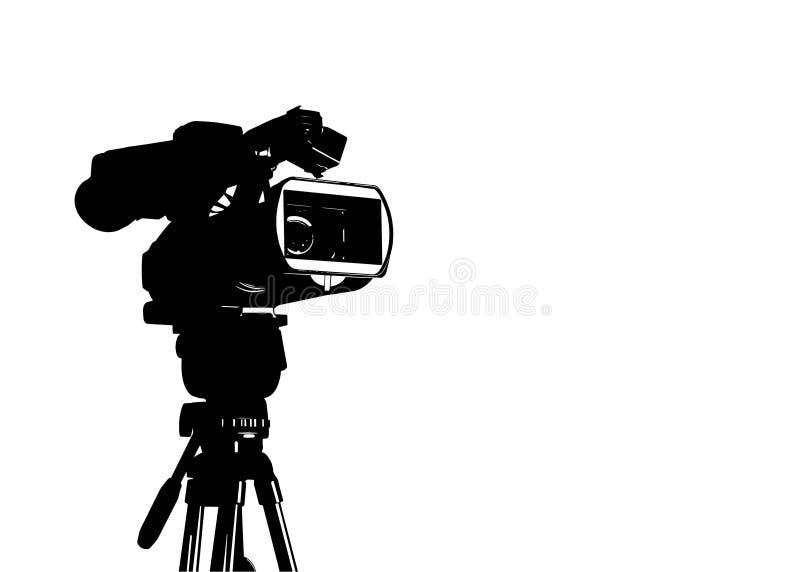 Caméra vidéo professionnelle réglée sur le trépied image stock
