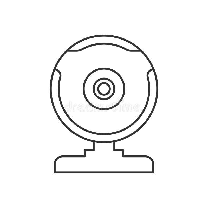 Caméra web noire d'isolement d'ensemble sur le fond blanc Ligne icône illustration de vecteur