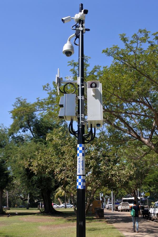 Caméras de télévision en circuit fermé de télévision en circuit fermé de police photographie stock libre de droits