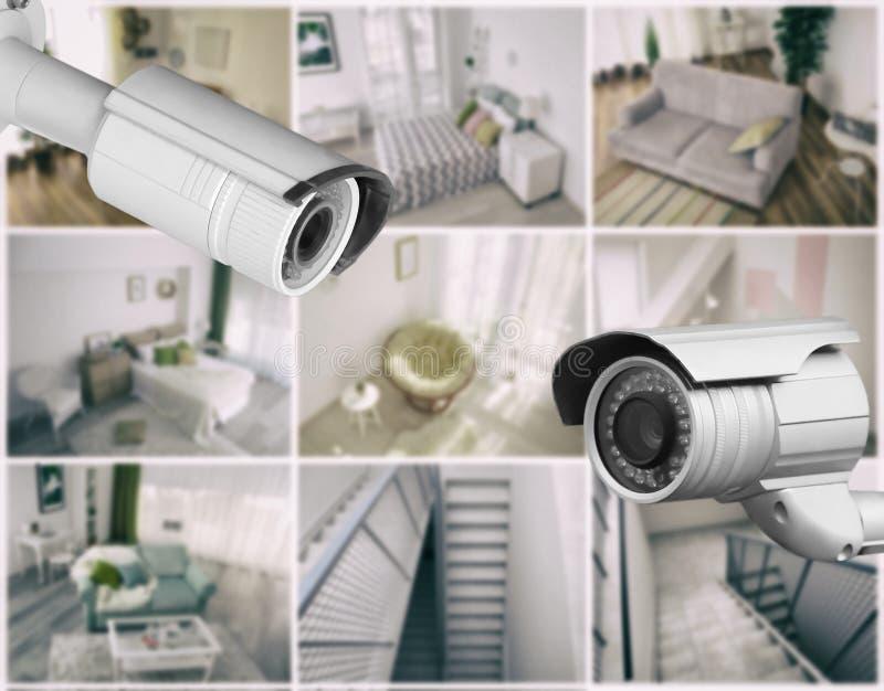 Caméras modernes de télévision en circuit fermé avec la vue brouillée des emplacements de la maison photo stock