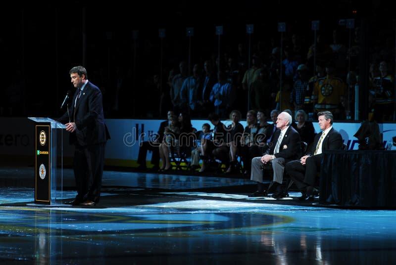 Cam Neely speaks to Garden faithful. Boston Bruins President Cam Neely addresses the Bruins fans during the Milt Schmidt Night celebration on Thursday, October stock images