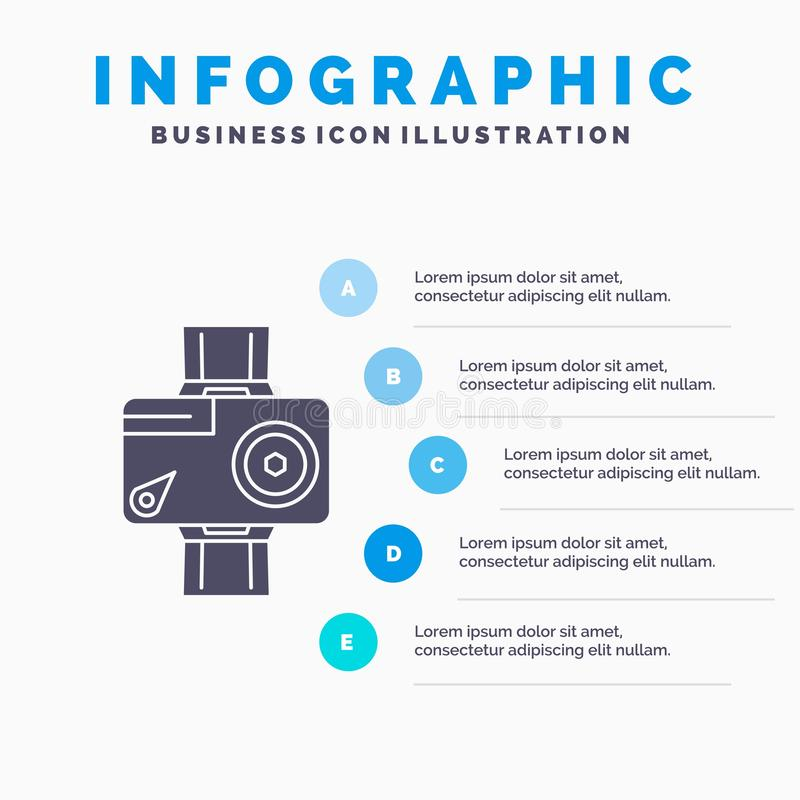 cam?ra, action, calibre num?rique, visuel, de photo d'Infographics pour le site Web et pr?sentation Ic?ne grise de GLyph avec inf illustration stock