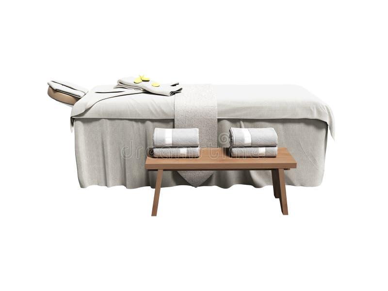 Cama blanca moderna del masaje con las toallas dobladas 3d rendir en b blanco libre illustration