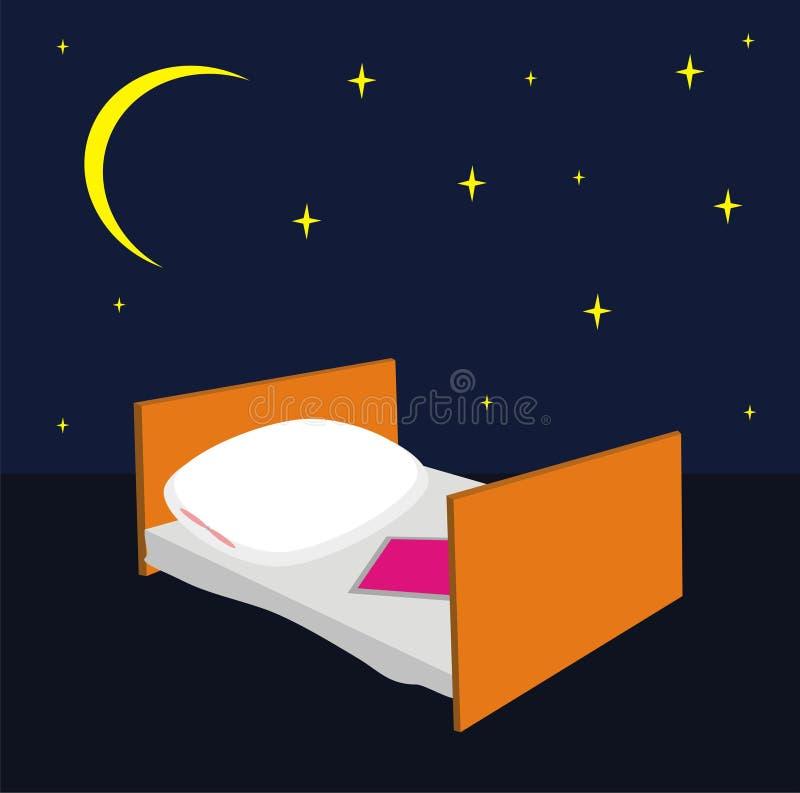 Cama com um descanso e um cobertor ilustração royalty free